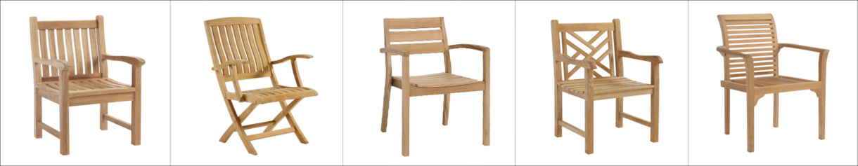 Five Classic Teak Outdoor Dining Chairs