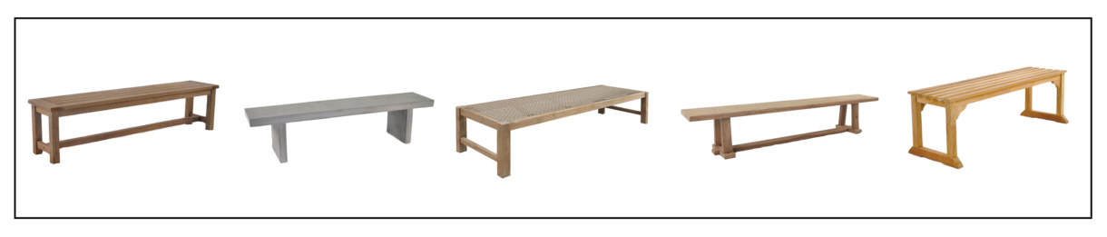 backless bench indoor and outdoor