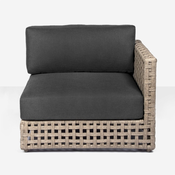 gray and natural logan corner chair