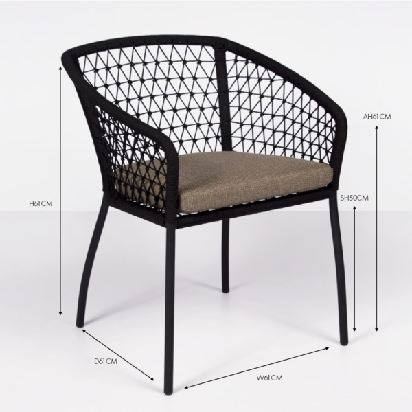 Lola rope dining chair black