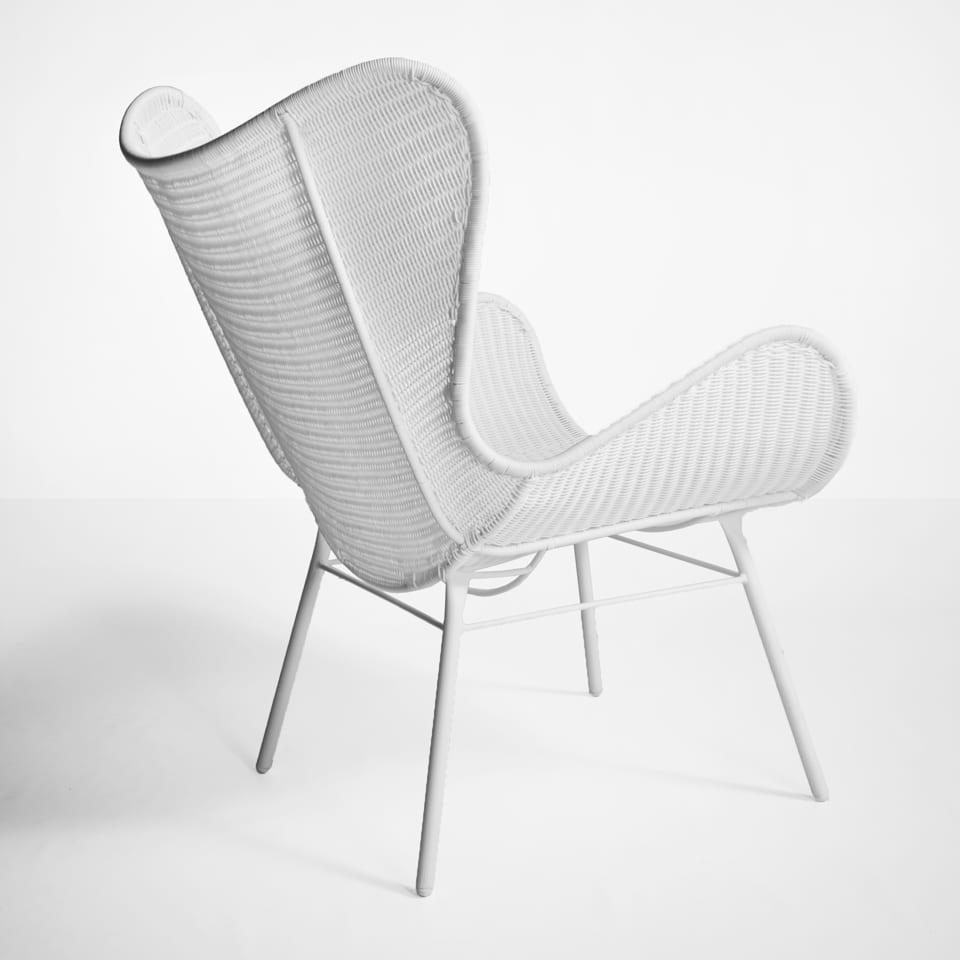 Nairobi Pure Wicker Wing Chair In White Design Warehouse Nz