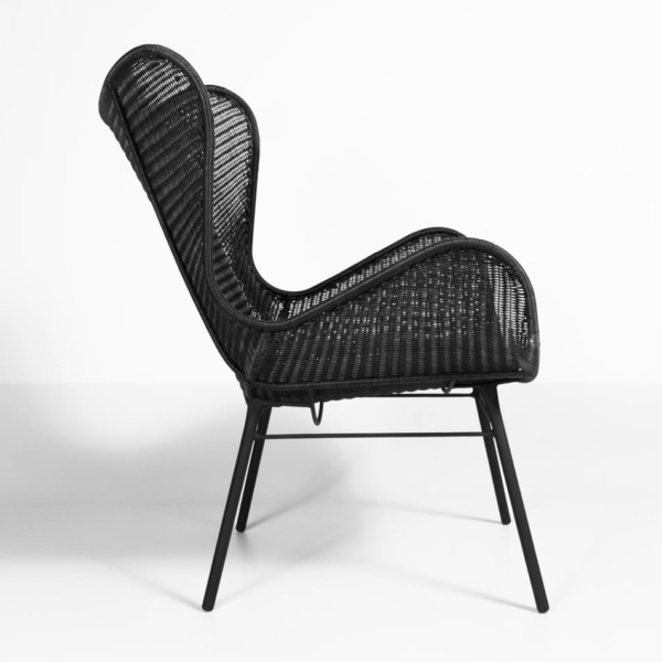 side view - nairobi wicker chair - black