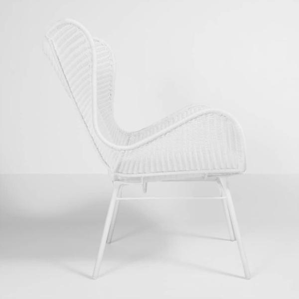 nairobi white wicker wing chair side view