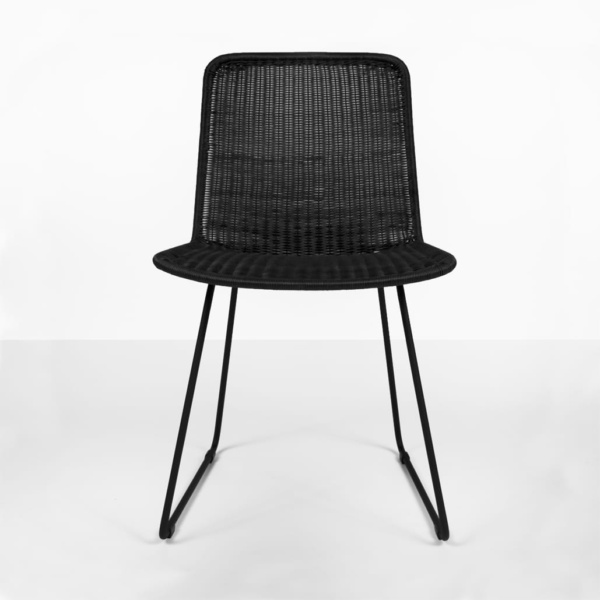 Olive wicker dining chair - black - dining side chair