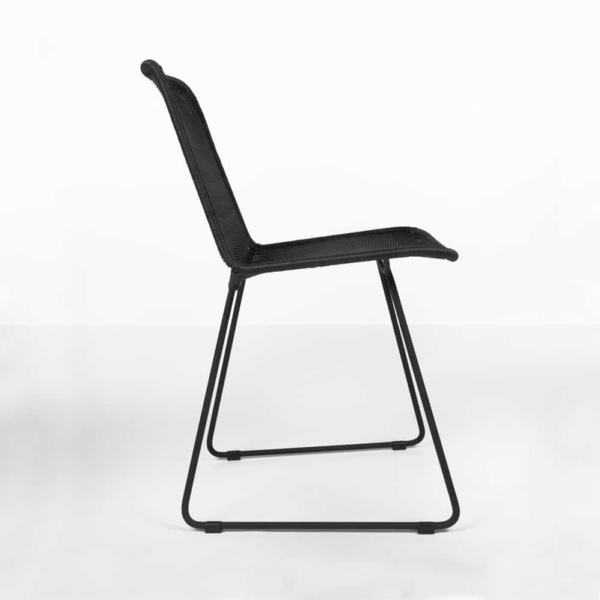 side view - Olive black wicker dining chair