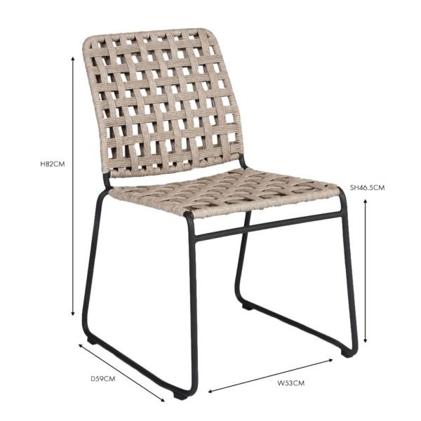 vita outdoor wicker dining side chair