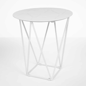 Zig zag outdoor side table (White)