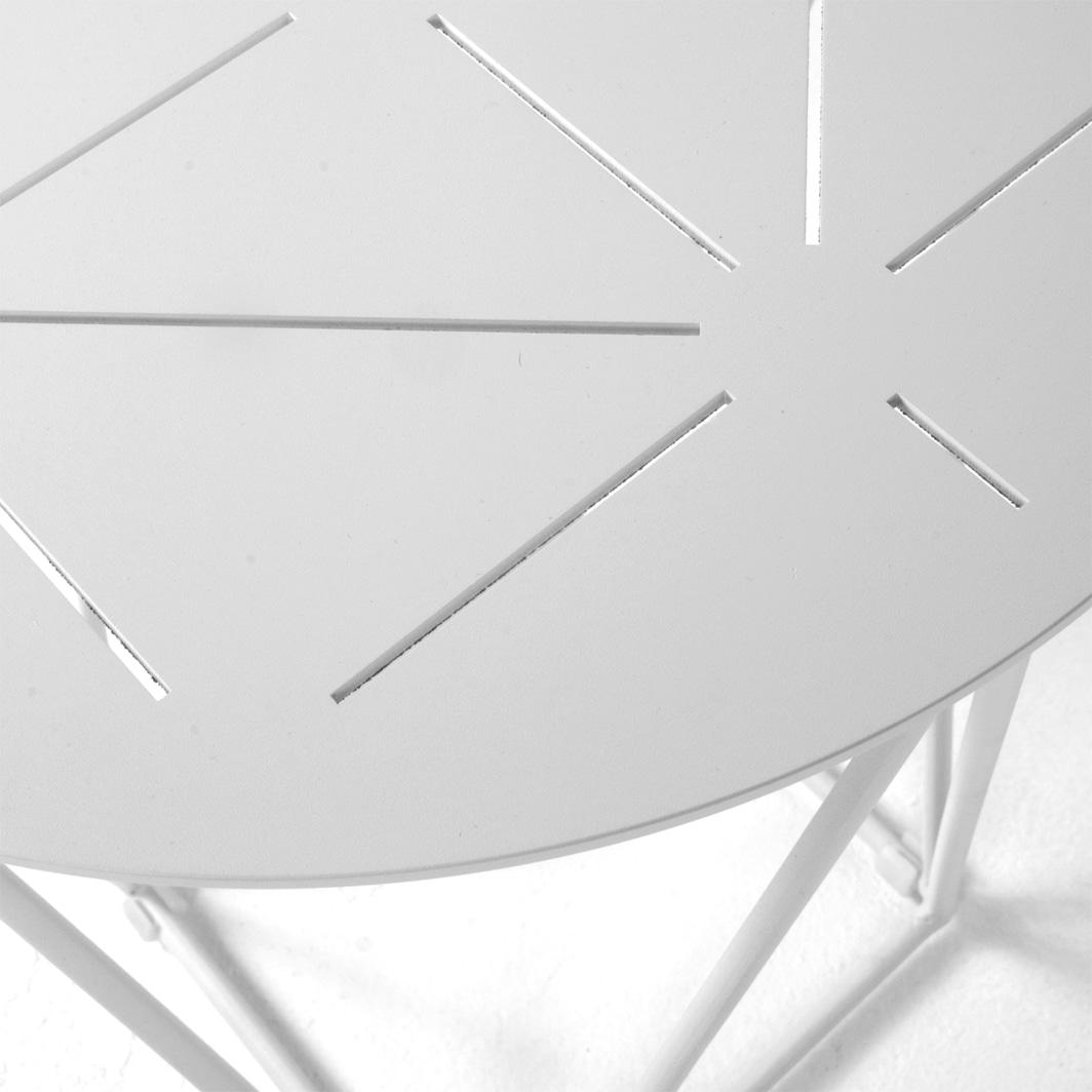 Zig Zag White Outdoor Aluminium End Table Design