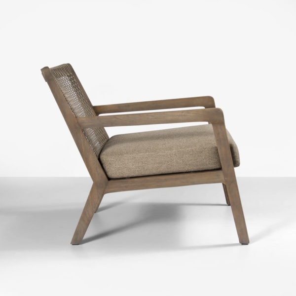side view of gazzoni teak and rope chair