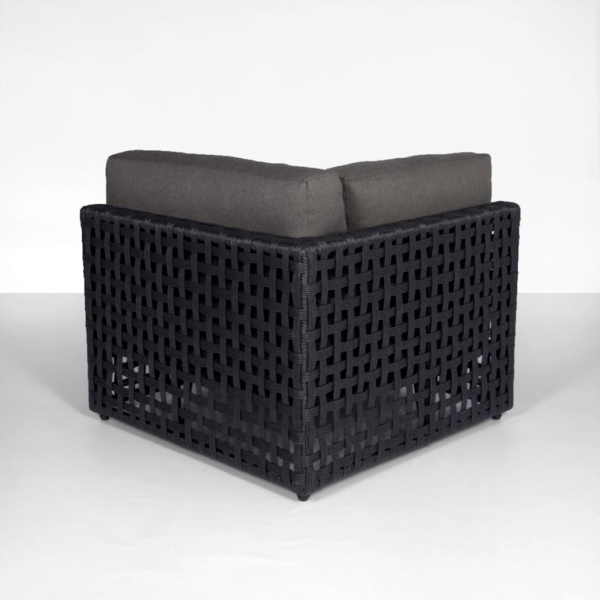 back angle view - black and gray outdoor sectional - logan