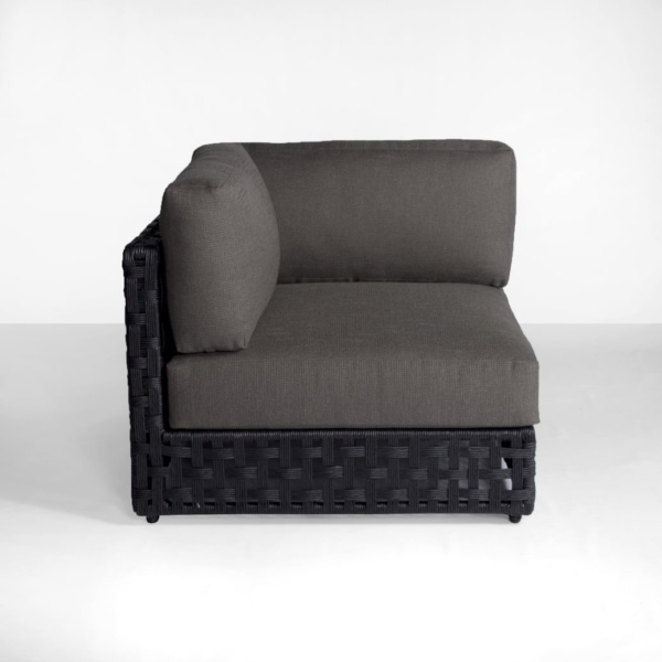 corner front - black and gray outdoor sectional - logan