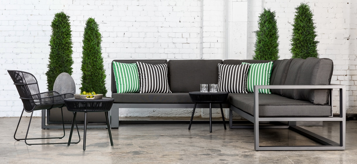Mykonos Aluminium Deep Seating Collection in charcoal grey