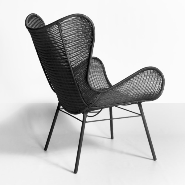 wing chair - nairobi - black wicker