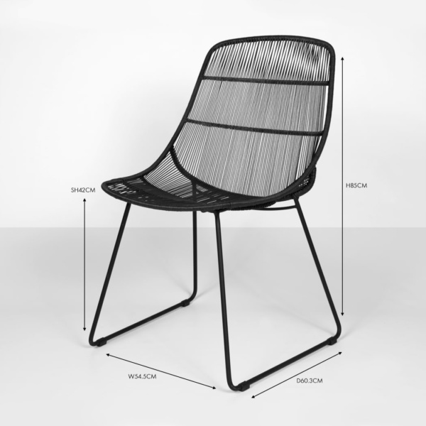 oliver outdoor wicker dining side chair (black) angle view