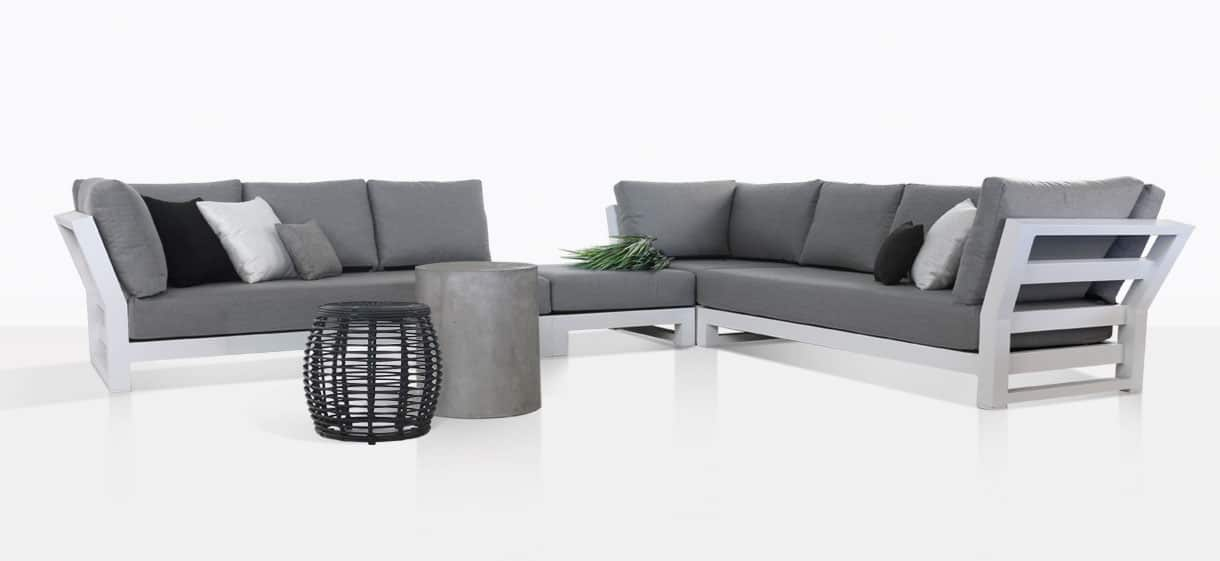 South Bay powder-coated white aluminium deep seating collection