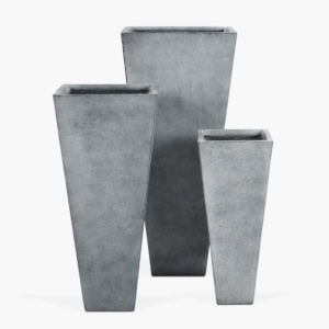 Bishop Square Outdoor Concrete Planter Set Whitewash