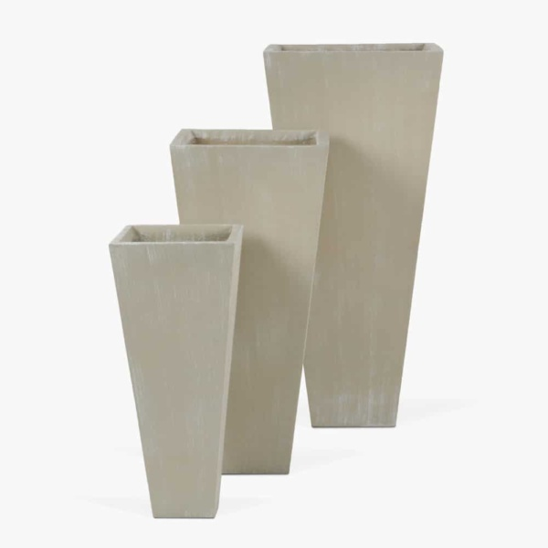 Bishop Square Outdoor Concrete Planter Set Antique White