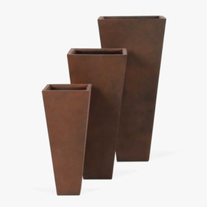 Bishop Square Outdoor Concrete Planter Set Copper