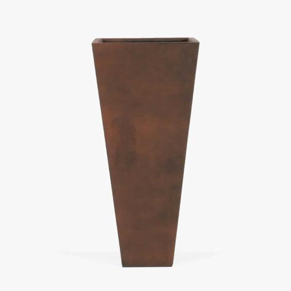 Tall Bishop Square Outdoor Concrete Planter Copper