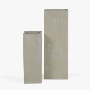 Chino Outdoor Concrete Planter Set Antique White