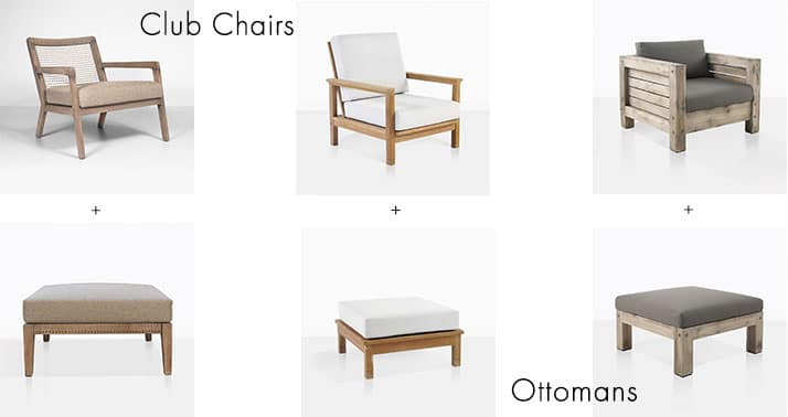 Featured Outdoor Club Chairs and Ottomans