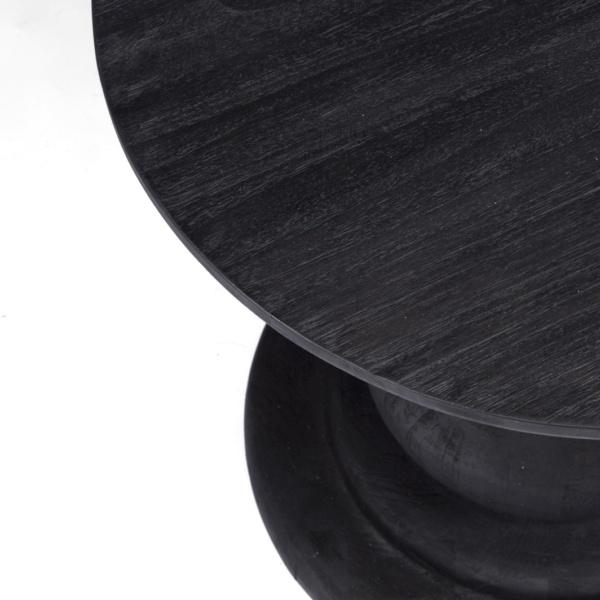 black teak top of outdoor side table