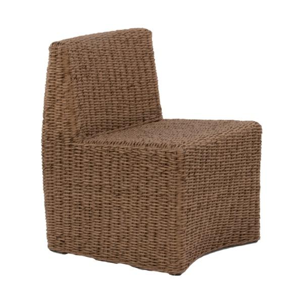 brown wicker side chair