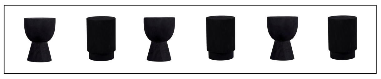 Outdoor Teak Side Tables in Black