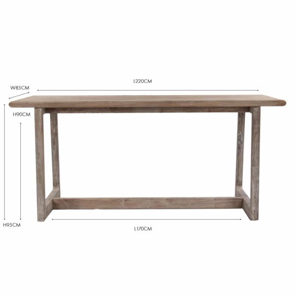 Donald reclaimed teak counter bar table