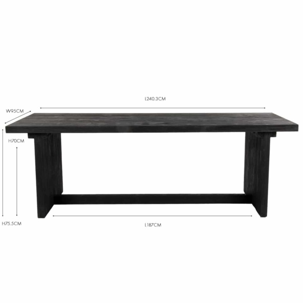 Denis stained black teak dining table
