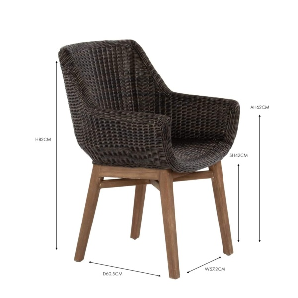 James wicker and reclaimed teak dining armchair
