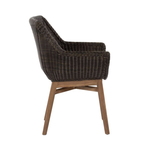 James outdoor wicker chair with teak legs