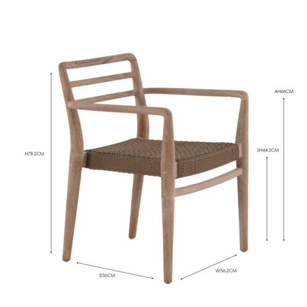 Joan Outdoor wicker and reclaimed teak dining arm chair