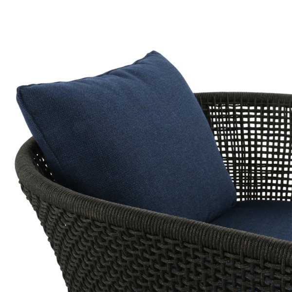 charcoal chair with blue cushions - scottie