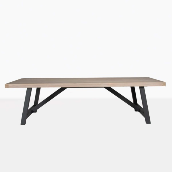 hobson reclaimed teak dining table with graphite aluminium base front view