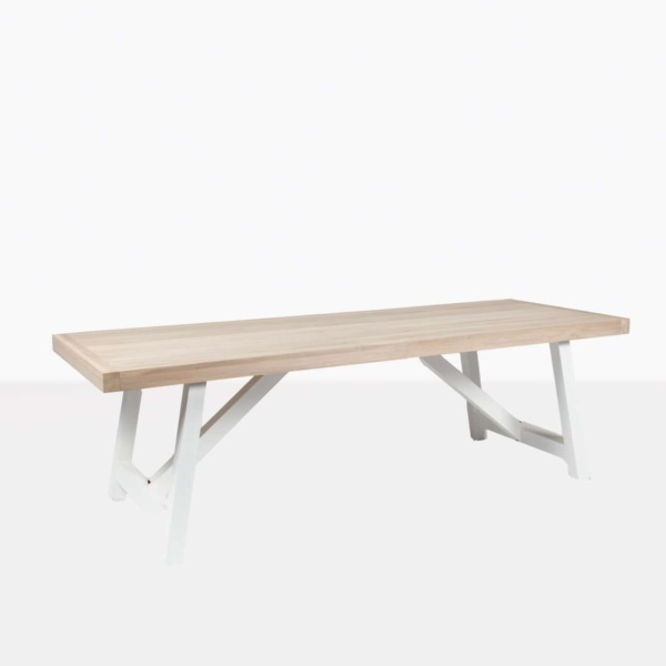 hobson reclaimed teak dining table with stonewhite aluminium base angleview