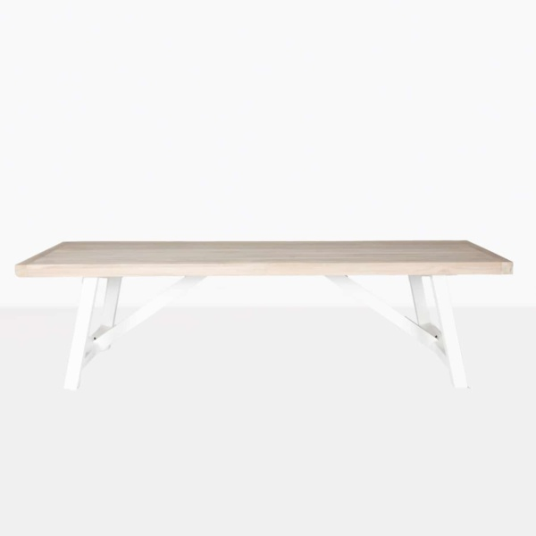 hobson reclaimed teak dining table with stonewhite aluminium base front view