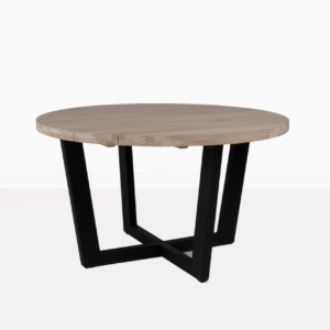 jimmy round dining table aluminum lava base reclaimed teak top