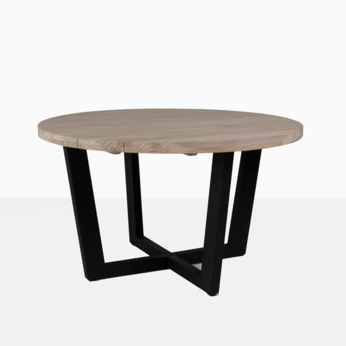 jimmy round dining table aluminum lava base reclaimed teak top