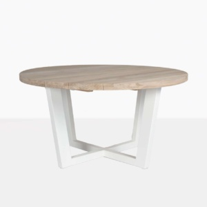 jimmy round dining table aluminum stonewhite base reclaimed teak top