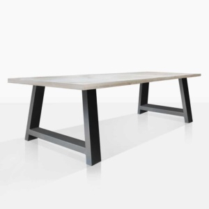 santa fe reclaimed teak dining table in black angle view