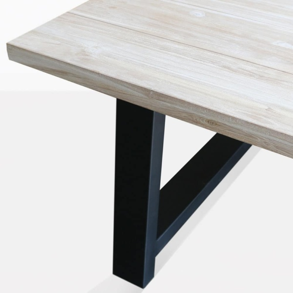 santa fe reclaimed teak dining table in black closeup angle view