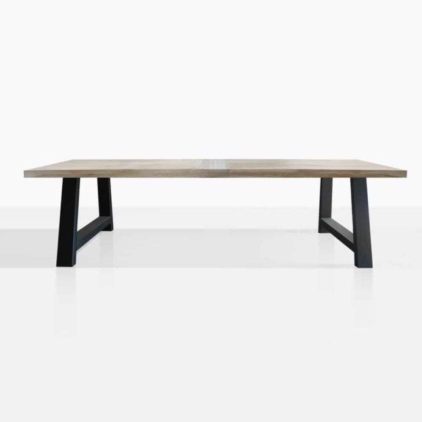 santa fe reclaimed teak dining table in black front view - patio furniture auckland