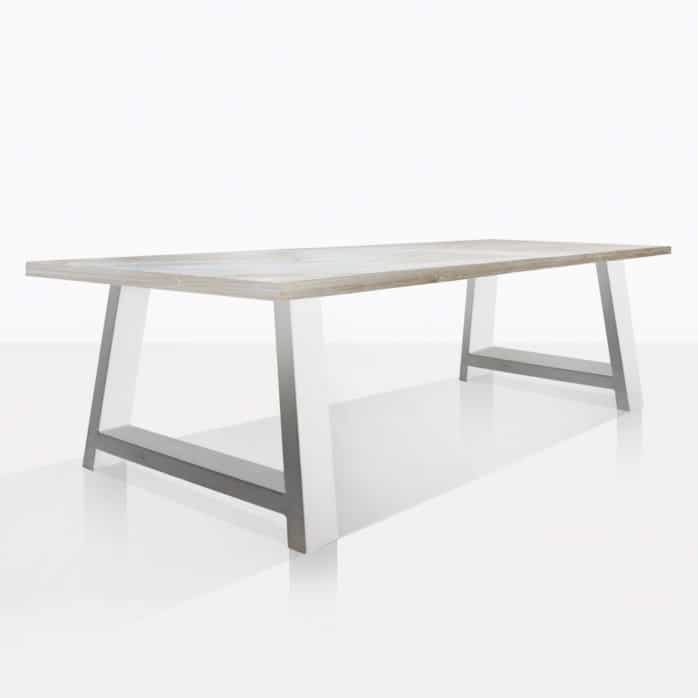 santa fe reclaimed teak dining table in white angle view