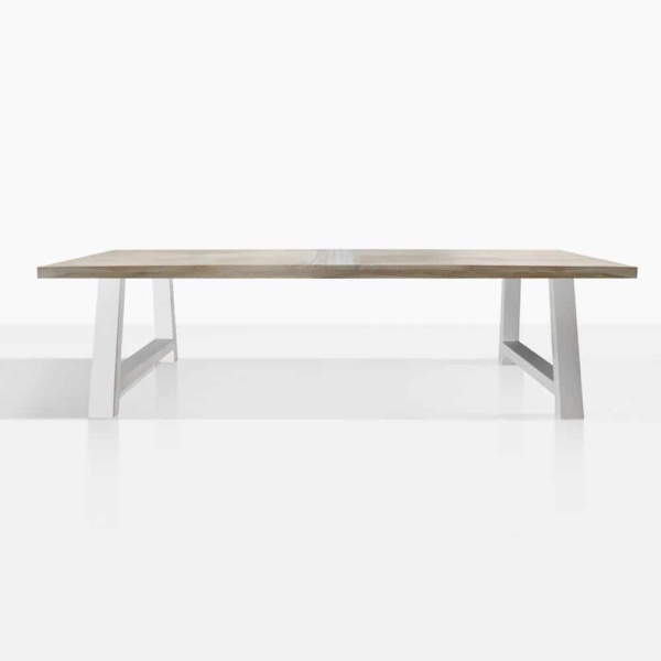 santa fe reclaimed teak dining table in white front view