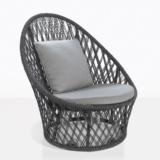 sunai open weave relaxing swivel chair in charcoal angle view