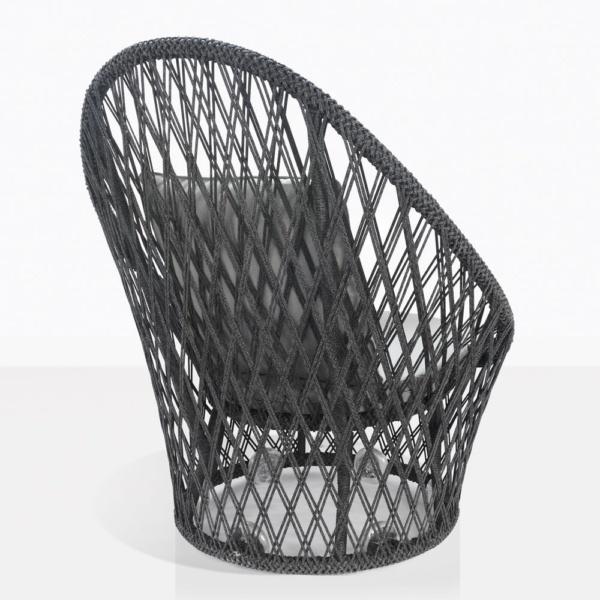 sunai open weave relaxing swivel chair in charcoal back view