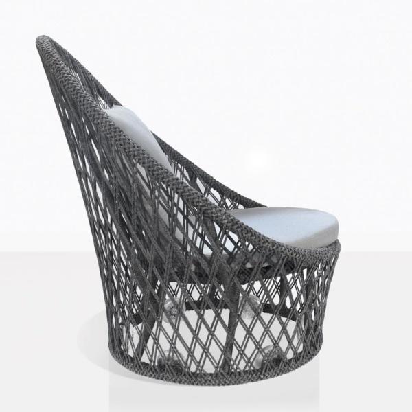 sunai open weave relaxing swivel chair in charcoal side view