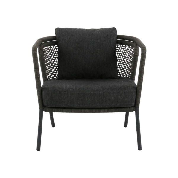 dark gray deck chair with arms - butterfly