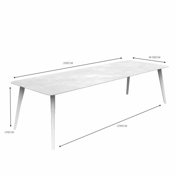 Kove White Dining Table dimension